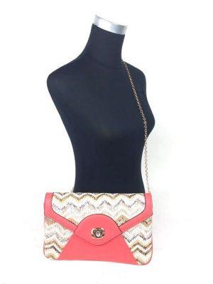 Ibiza look envelop tas roze beige met bijpassende portemonnee