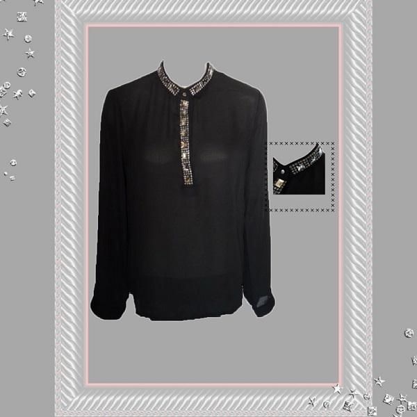 Zwarte blouse met bling stenen