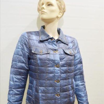 Gewatteerd winterjack kort model met spijkerstof op kraag, borstzakken en mouwen