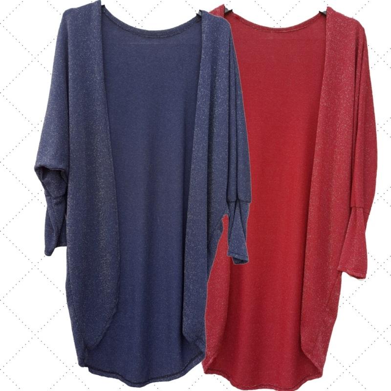 Lange vest blauw en bordeaux rood met zilverdraad
