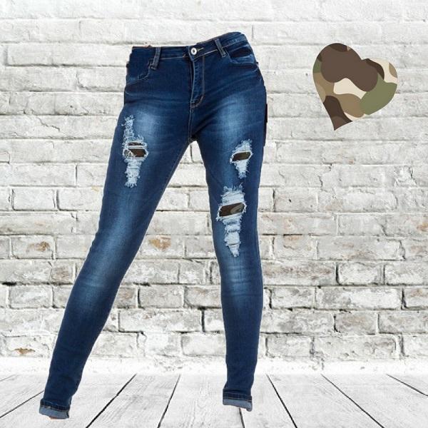 Jeans met camouflage inzet stukken