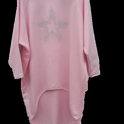Long shirt XXL roze met ster print strass