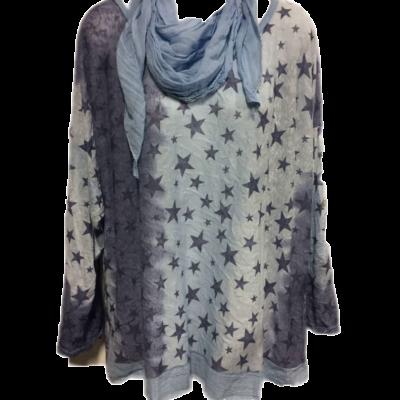 shirt ster met sjaal blauw png