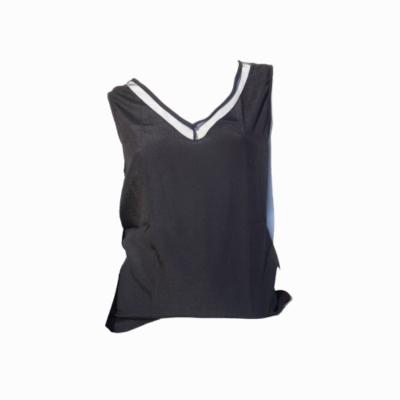 zwart hemd met v-hals transparant