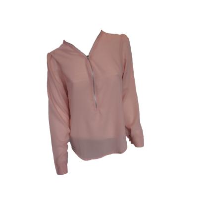 Roze blouse met rits