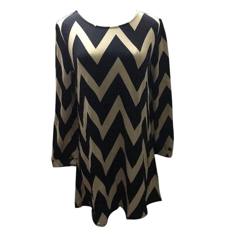 Shirt / Blouse zwart beige geometrisch