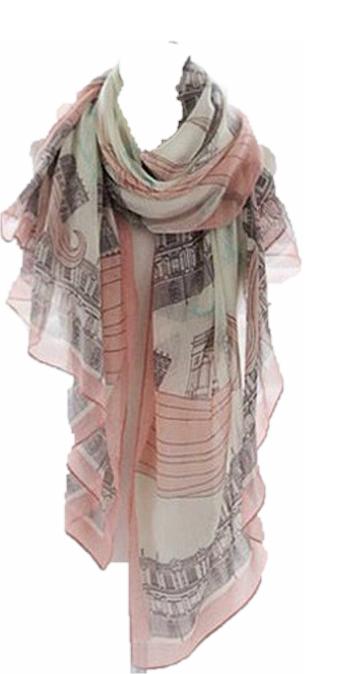 Trendy sjaal lang licht roze/grijs