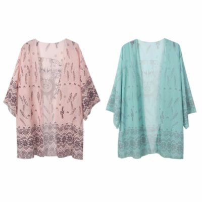 Strand kimono boho style roze en mint- groen