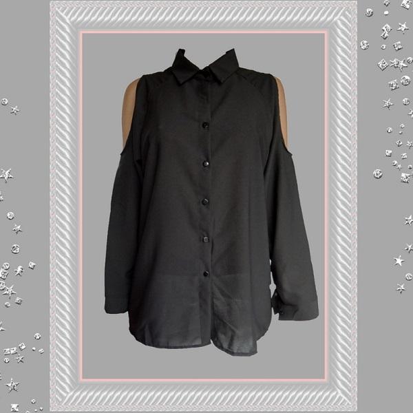 A-lijn blouse met sexy open schouder zwart