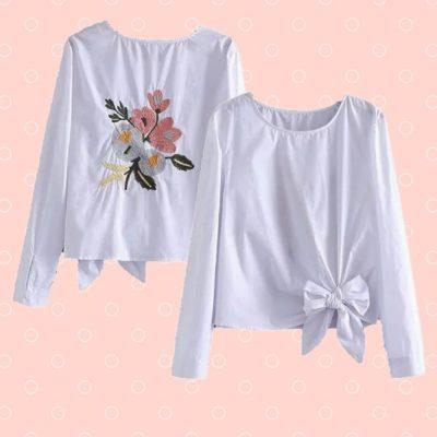 Blouse wit met borduursel op rugpand en strik voorop