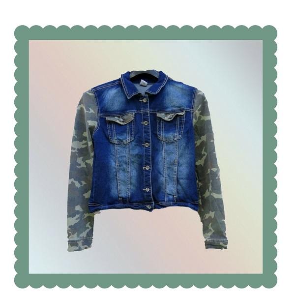 Jeans jack met army print