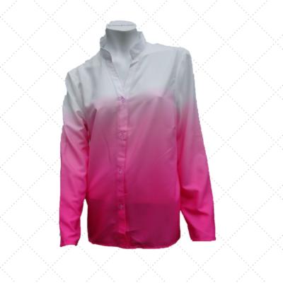 blouse wit met 2 kleuren rose