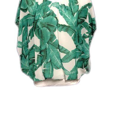 Blouse wit met groen palmblad print