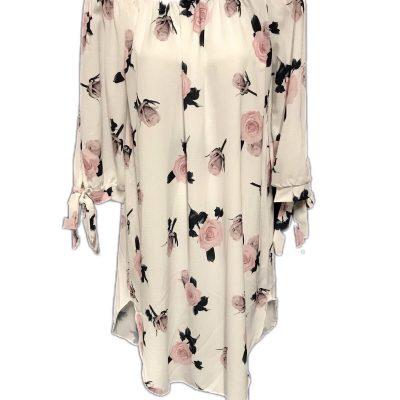 Off shoulder wit jurkje met rozen print