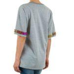 T-shirt grijs met kameleon studs achterkant