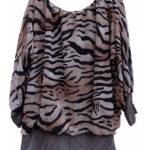Ballon blouse tijger print streep beige draagbaar 46 tot en met 48