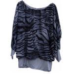 Ballon blouse tijger print streep grijs draagbaar 46 tot en met 48