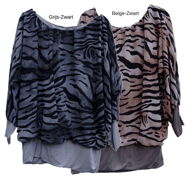 Ballon blouse tijgerprint in de kleur grijs-zwart of beige-zwart s