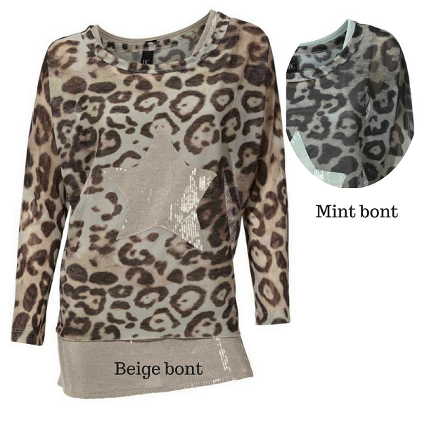 Blouse shirt met top beige en mint