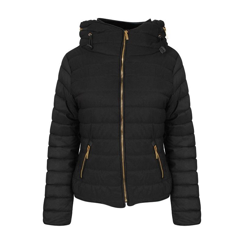 zwarte gewatteerde dames winterjas met hoge kraag vk