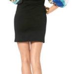 Melrose party jurk zwart met lange chiffon mouwen