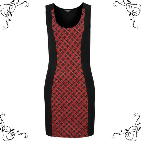 Mouwloos jurkje zwart met roden ruit