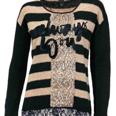 gebreide trui met beige zwart met pailletten