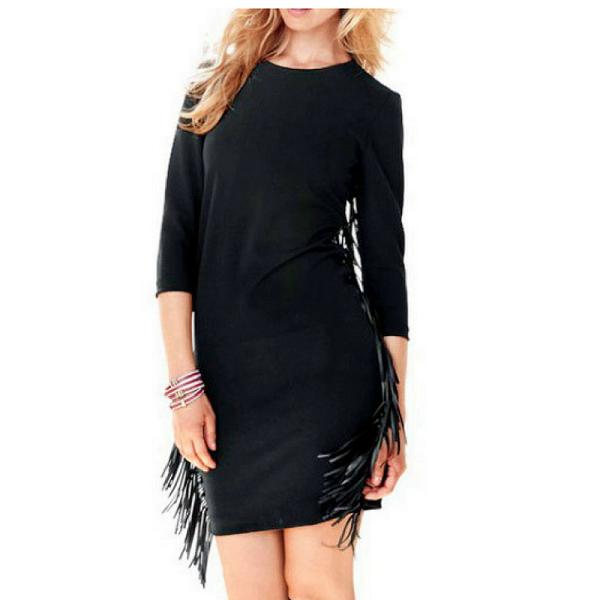 zwarte jurk met franjes van designer Rick Cardona