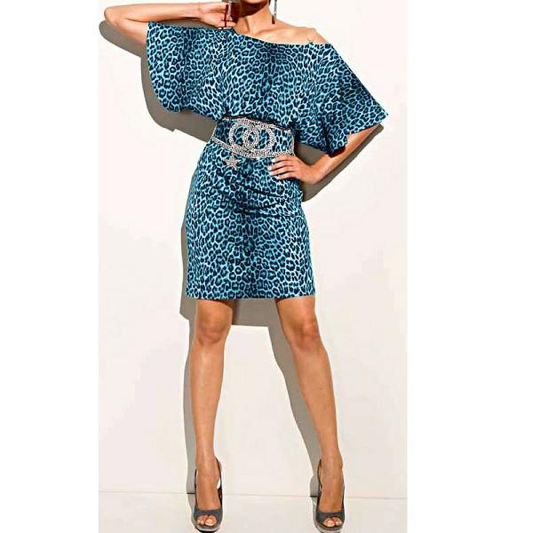 dea05538fb41c6 Jurk luipaard print met riem aqua blauw ⋆ Be Yourself Fashion