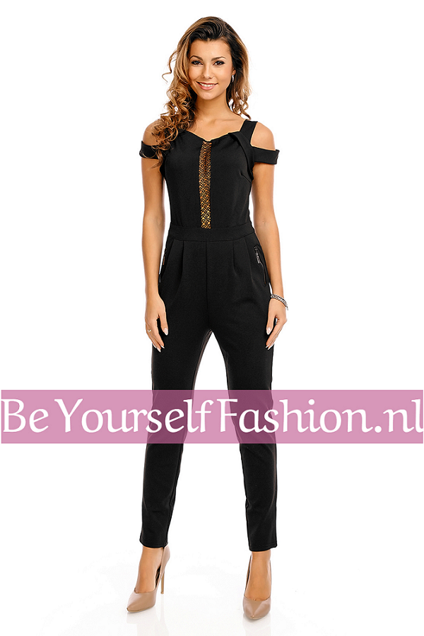8e14092e1833c1 Zwarte jumpsuit met dubbele schouderbandjes ⋆ Be Yourself Fashion
