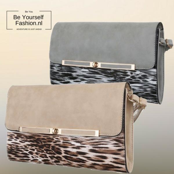Handtas grijs en beige met luipaard print