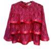Romantische kanten blouse met ruches en satijn