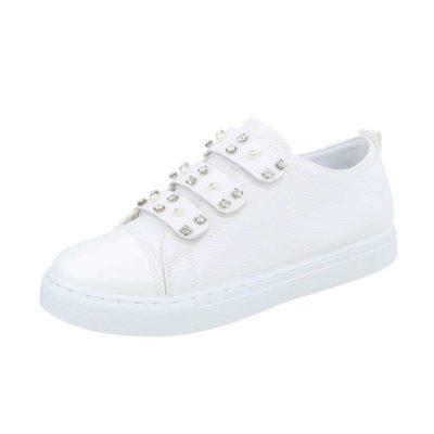 Instap sneaker wit met strass en parels