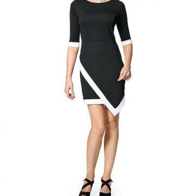 Elegante jurk zwart - wit met vrouwelijke pasvorm
