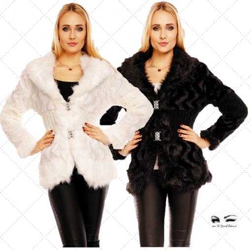 jas met imitatiebont en wol in zwart of wit