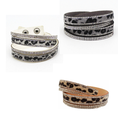 Armband met luipaard print en strass