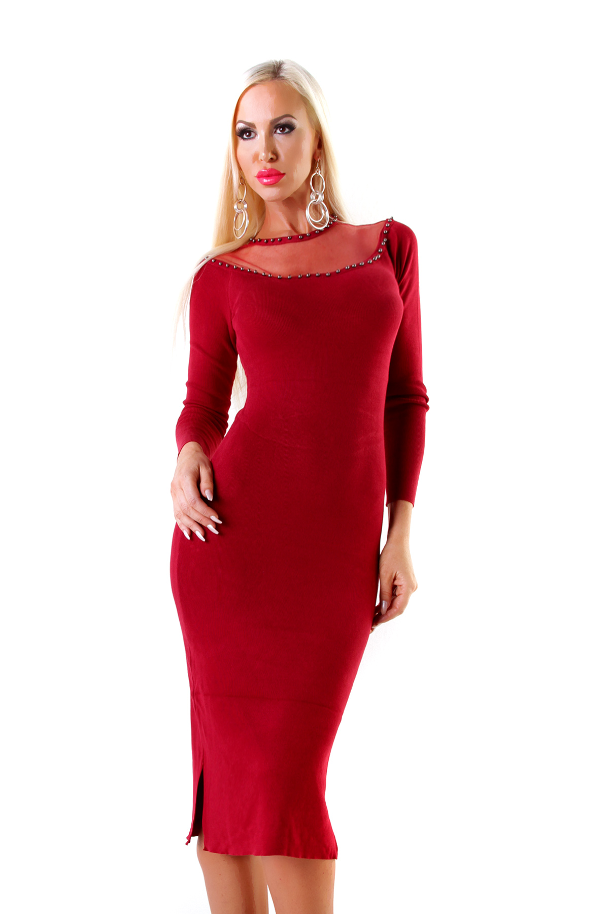Rode Lange Jurk.Wijnrode Lange Jurk Met Tule En Studs Be Yourself Fashion