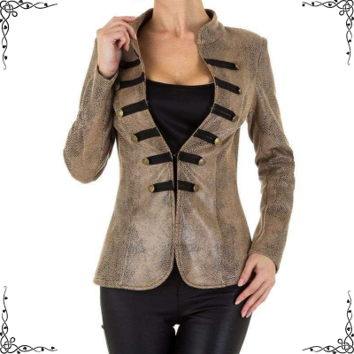 Blazer suède look in military style