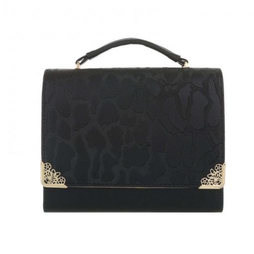 Zwarte schoudertas met giraffen patroon