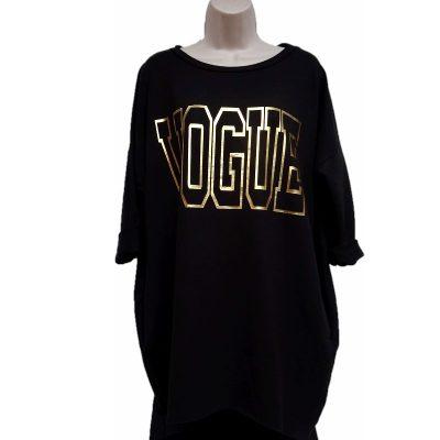 Tuniek zwart met Vogue tekst